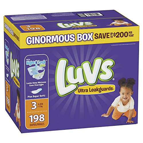 Luvs Ultra Leakguards Disposble Diapers, Size 3, 198 Count, ONE Month Supply from Luvs