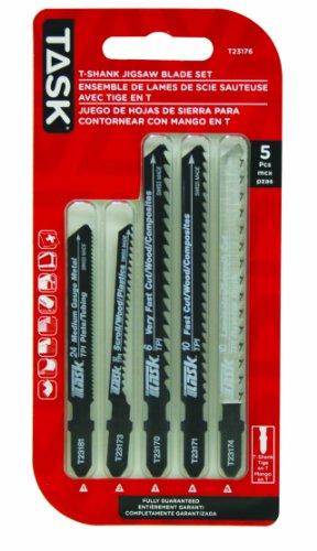 Task Tools T23176 5-Piece T-Shank HCS/HSS Jigsaw Blade Set - Hss Shank Jigsaw Blade