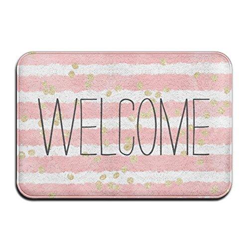 - Trendy Blush Pink Watercolor Stripes Gold Confetti Super Absorbent Anti-Slip Mat,Funny Doormat,Indoor/Outdoor Decor Rug Doormat 23.6(L) X15.7(W) Inch Non-Slip Home Decor