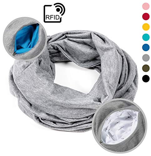 READY + STEADY Travel Infinity Scarf with Zipper Pocket/Travel Accessories for Women and Men (Grey)