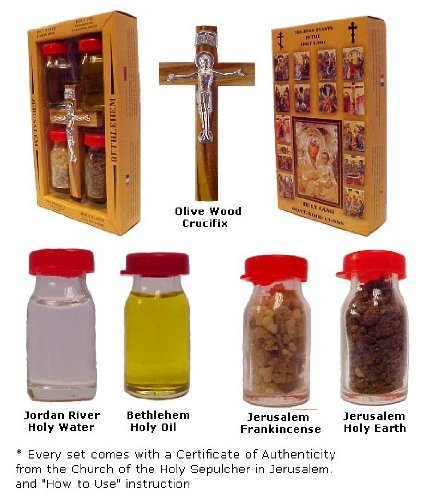 Christian Gifts Crucifix with Holy Water, Anointing Oil, Frankincense & Earth - Made in Bethlehem