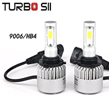 Turbo SII 9006 Led Headlight Conversion Kits 72w 8000Lm HB4 Headlight Bulbs Bridgelux COB Chips All in One LED Fog Light Replace for Halogen or HID Bulbs