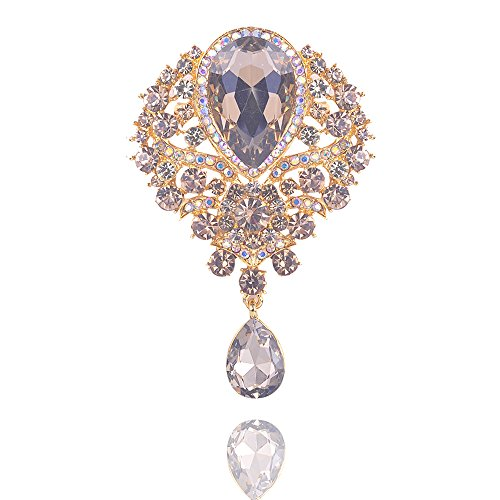 Yilanair Sparkle Big Crystal Peacock Brooch -