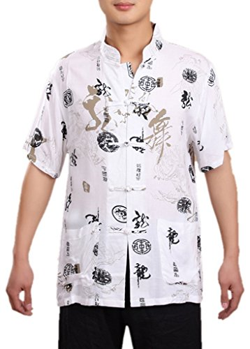 Bigood Traditional Short Sleeve Tang Kung Fu Uniform Cotton T-shirt Dragon Word L White