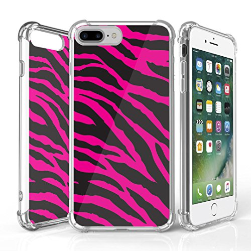 iPhone 7 Plus Case, DuroCase AquaFlex 4 Corner Shockproof TPU Bumper w/ Hard Plastic Back Shield 2in1 Hybrid Case (Clear) For Apple iPhone 7Plus - (Zebra Black Pink)