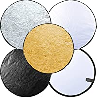Longruner Portable Multi-disc Collapsible Photography Photo Reflector Round Multi Disc Light Reflector for Studio or any Photography Situation Includes Carrying Pouch (43 (110cm))
