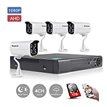 KORANG 1080P AHD 4 Channel Waterproof Surveillance System With 1TB Pre-installed HDD 2.0 Megapixel Outdoor Infrared DVR HD Analog Bullet Camera Kit