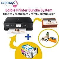 icinginks最新Edibleプリンタバンドル、Includes 50 Edibleシート, Refillable Edibleカートリッジ、Edibleクリーニングキットケーキ、プリンタ、Edibleインクプリンタ、Edible Imageプリンタ, Canon Edibleプリンタ