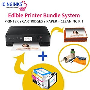 Icinginks Latest Edible Printer Bundle, Includes 50 Edible Sheets, Refillable Edible Cartridges, Edible Cleaning Kit, Cake Printer, Edible Ink Printer, Edible Image Printer, Canon Edible Printer