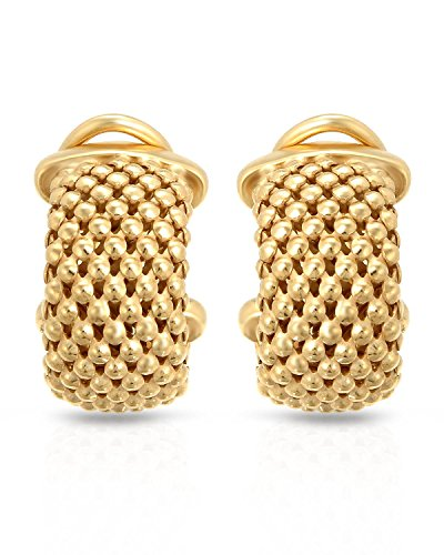 MCS Jewelry Sterling Silver Yellow, White OR Rose Gold Plated Mesh Earrings (Length: 22 mm) (Yellow)