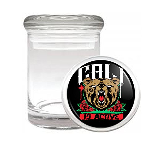 California Bear D5 Medical Glass Jar 3'' X 2'' Herb & Spices State Animal Bear Flag California Republic Cali by Perfection In Style
