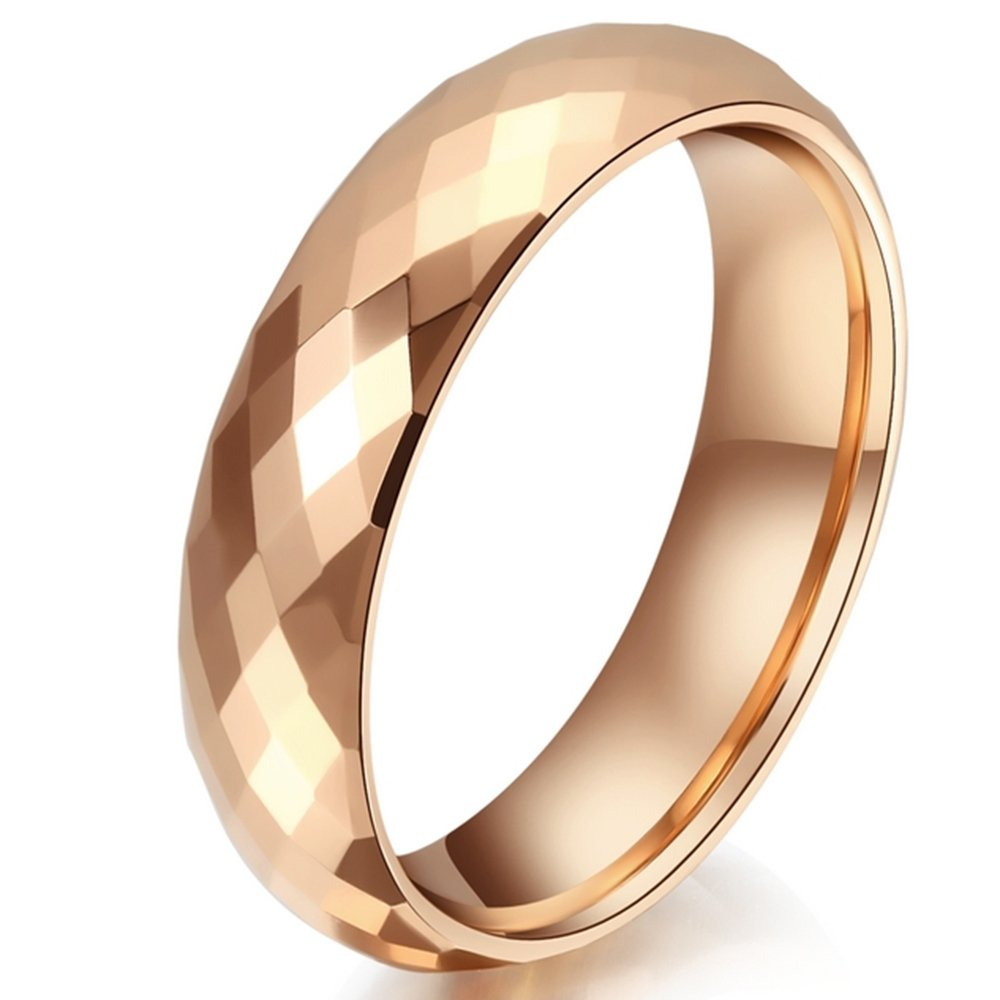 Women 4mm Tungsten Carbide Rhombus Pattern 18K Rose Gold Ring Wedding Engagement Domed Band For Her by Fashion Month