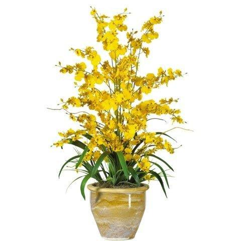(Nearly Natural Yellow Triple Dancing Lady Silk Flower Arrangement)