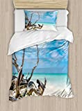Ambesonne Driftwood Duvet Cover Set Twin Size, Seascape Theme Branches on The Sandy Beach of Cuba and The Sky Image, Decorative 2 Piece Bedding Set with 1 Pillow Sham, Turquoise Sky Blue