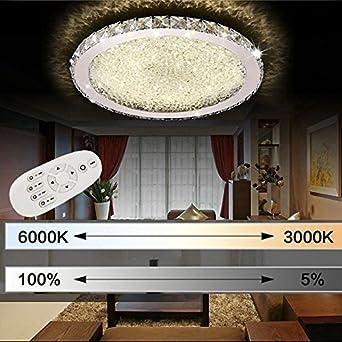 ETiME 72W Deckenleuchte mit Fernbedienung Kristall LED Dimmbar Ø62cm ...