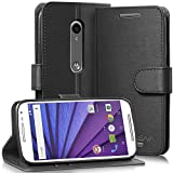 Vena for Motorola Moto G (3rd Gen, 2015) Wallet Case [vSuit] Draw Bench PU Leather Snap Case Cover with [Card Pockets] for Motorola Moto G (3rd Gen, 2015) (Black)