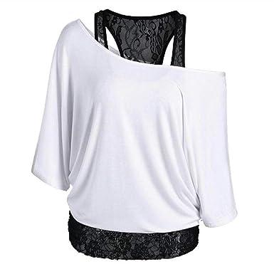3d8d939f5eb00 Newbestyle Femme été Manches de Chauve-Souris T-Shirt Faux Deux Pièces  Dentelle Piqûre