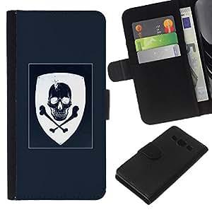 Be-Star la tarjeta de Crédito Slots PU Funda de cuero Monedero caso cubierta de piel Para Samsung Galaxy A3 ( Coat Of Arms Blue White Skull Pirate )