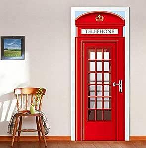 Cartoon 3D England English Telephone Stand Booth Door Stickers DIY Wall Mural Bedroom PVC Waterproof Home Decor Decals-es
