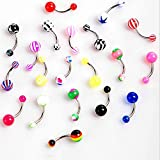 Sumanee Body Gift Curved Navel Barbell Stripes Jewelry Bar Belly Button Rings Piercing