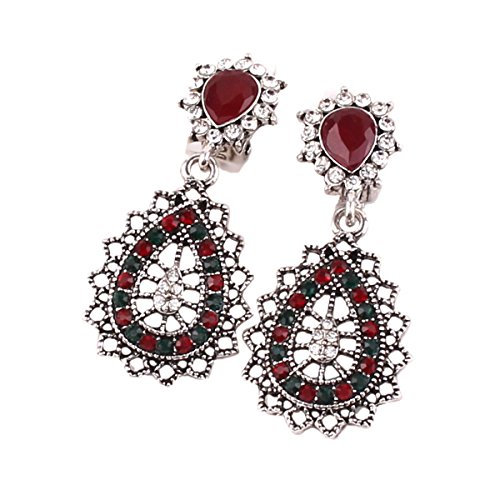 Grace Jun(TM) Vintage Silver Plated Multicolor Rhinestone Resin Clip On Earring Without Piercing for women Earrings (Red) (Color Vintage Earrings Rhinestone Multi)