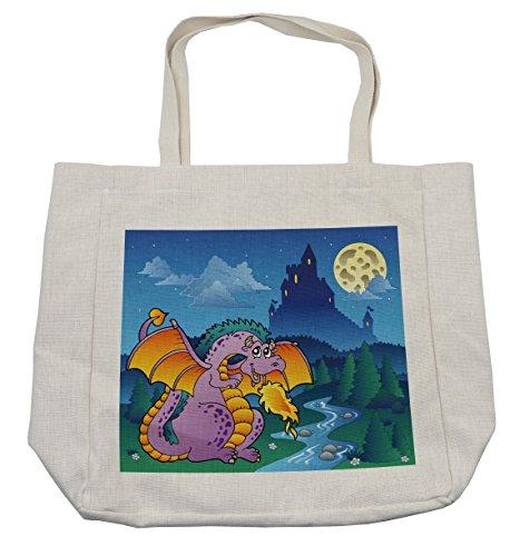 Lunarable Boy's Room Shopping Bag, Fairy Tale Theme Cartoon with Cute Dragon at Fantasy Night Mysterious Castle, Eco-Friendly Reusable Bag for Groceries Beach Travel School & More, (Fairytale Themed Costume Ideas)