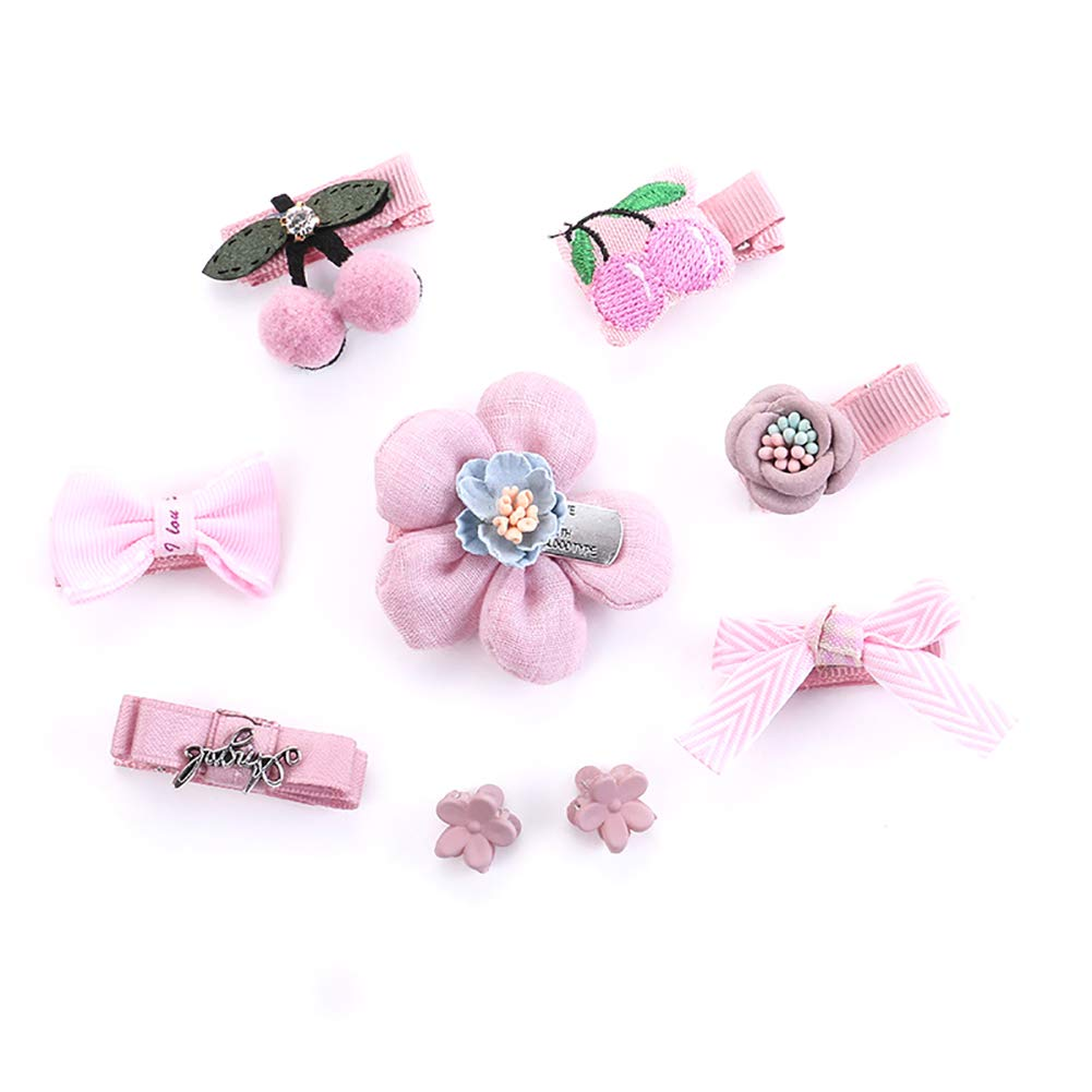Oyfel Set of 9 Hairpin Cute Children Bow Hair Clip Kawaii Jewelry Accessories Barrette Hair Grips Clamps Headwears Hair Ornaments for Kids Mixed Shapes with Gift Box D53B17014PX5921MP3U