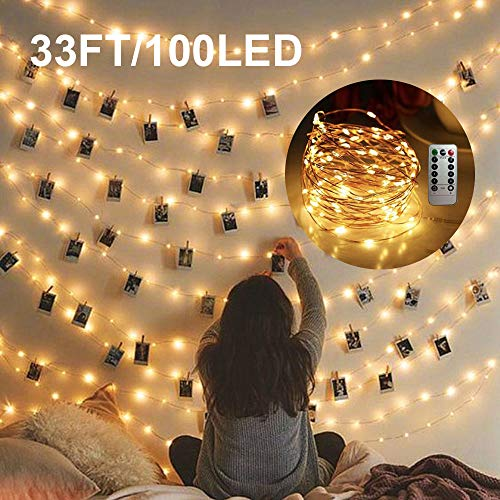 Cocoselected Warm White Twinkling Fairy Lights USB Powered,33ft 100 Micro LEDs String Twinkle Lights with Remote Control Teen Girls Bedroom Decor Kids Night Light