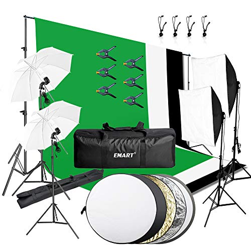 (Emart 8.5 x 10 ft Backdrop Support System, Photography Video Studio Lighting Kit Umbrella Softbox Set Continuous Lighting for Photo Studio Product, Portrait and Video Shooting Photography)
