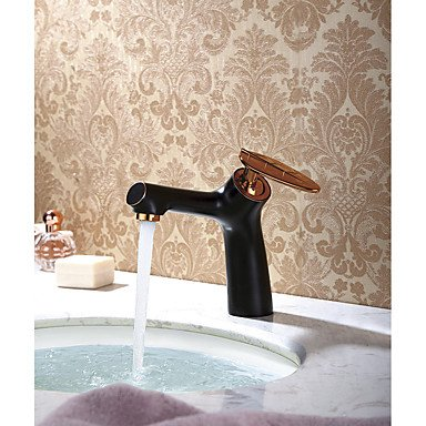 YiXinZhaiPei Antique Traditional Art Deco/Retro Centerset Widespread with Ceramic Valve Single Handle One Hole for Rose Gold , Bathroom Sink Faucet Rose Bidet
