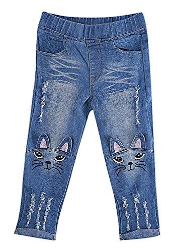 Sweety, Girls' Trendy Soft Cat Face Ears Appliques Tears Denim Skinny Jeans, Blue 3T (Filigree Applique)