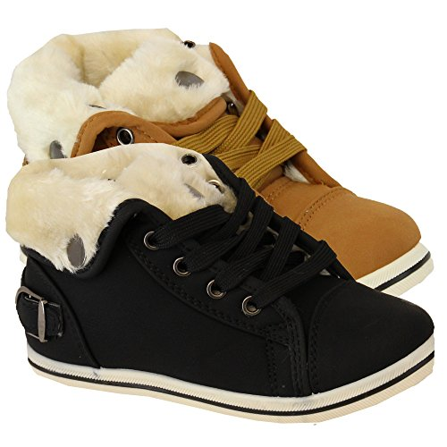 Mädchen Kunstpelz Winter Stiefeletten Mit Schnürsenkeln, Leopard Muster Kamel - BL26
