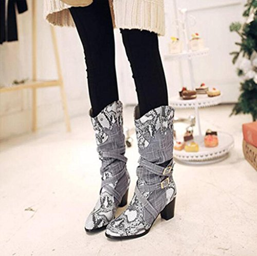 Kitzen Womens Over The Knee Boots Thigh High Fashion Spell Color Snakeskin Pattern Boots Round Head Fashion Large Size Boots Party Banquet Wedding Gray DczGXU
