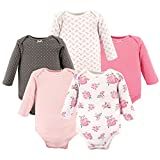 Hudson Baby Baby Infant Long Sleeve Bodysuit 5 Pack, Pink Floral, 3-6 Months