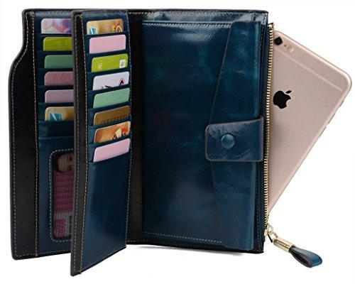 YALUXE Women's Wax Genuine Leather RFID Blocking Clutch Wallet Wallets for Women Blue by YALUXE (Image #2)