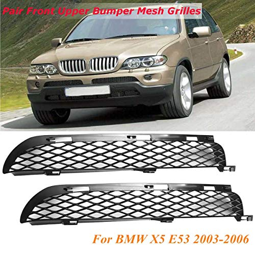 (Carvicto - Pair Car Front Upper Bumper Mesh Grille Spoiler Vent Air Intake For BMW X5 E53 2003-2006 Facelift)