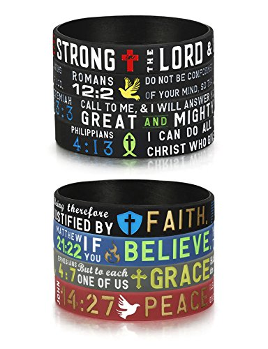 Finrezio 8 PCS Power of Faith Bible Verse Wristbands Black Silicone Bracelets for Men Women Christian Religious Jewelry Gifts