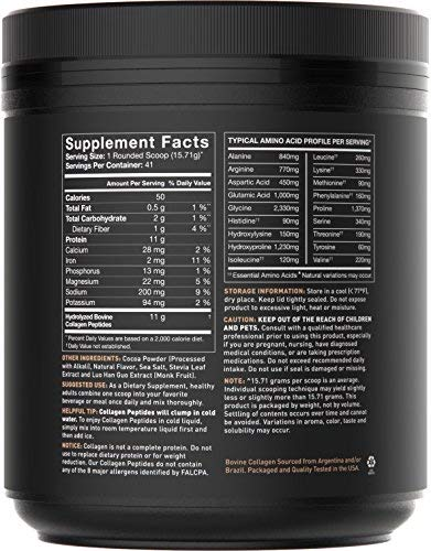 Collagen Peptides Powder (41 Servings) | The Only Non-GMO Verified Hydrolyzed Collagen Peptides Brand Available - Dark Chocolate