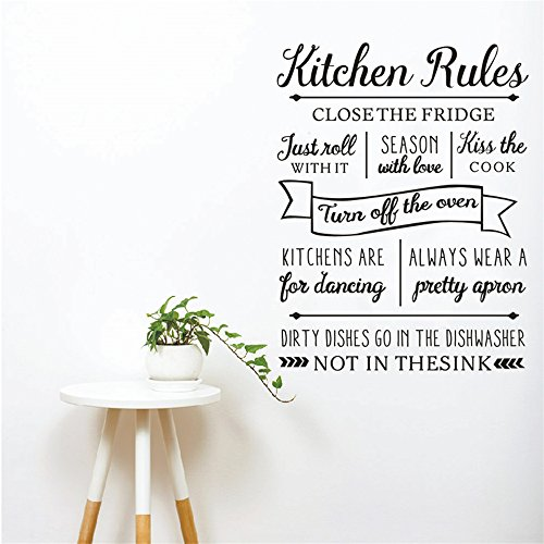 Wall Stickers Vinyl Words Sayings Removable Lettering Kitchen Rules Close The Fridge Season with Love kiss The Cook for Kitchen -