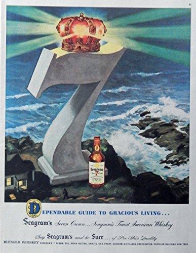 Seagram's Seven Crown Whiskey, print ad. Color Illustration. (ocean) original 1947 Magazine Art
