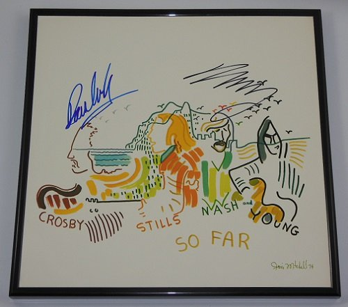 Crosby Still Nash & Young CSNY So Far David Crosby Neil Young Signed Autographed Lp Record Album with Vinyl Framed - Hot Celeb Men