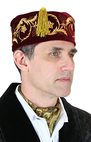 Historical Emporium Men's Deluxe Velvet Embroidered Smoking Cap L Burgundy ()
