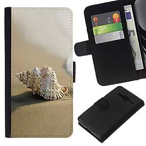 KLONGSHOP // Tirón de la caja Cartera de cuero con ranuras para tarjetas - Sea Shell Beach macro Arena - Samsung Galaxy Core Prime //