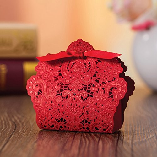 Doris Home Red Laser Cut Favor Candy Box With Ribbons Bridal Shower Wedding Party Favors 100 Pack