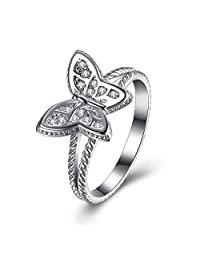 Women's 925 Sterling Silver Butterfly Cubic Zircon Stacking Wedding Band Eternity Engagement Promise Ring