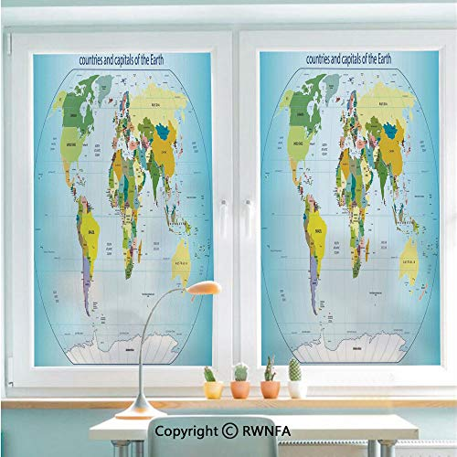 "Decorative Window Films Kitchen Glass Sticker World Map with Countries and Capital Cities of the Earth with Oceans and Lakes Graphic Art Waterproof Anti-UV for Home and Office 22.8"" x 35.4"",Multi"