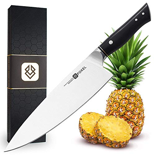 (Kitchen Chefs Knife - Chef Knives Professional 9 inch - Razor Sharp High Carbon German Steel - Foxel LYNX Series Combines Beauty with Versatility - Ergonomic Black Handle - Presentation Gift Box )