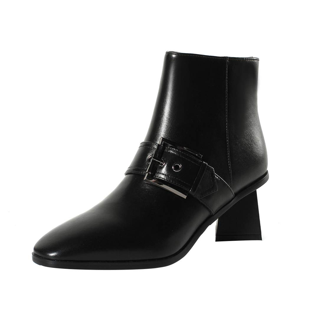 Black MAYPIE Womens Toappet Leather Zipper Ankle Boots