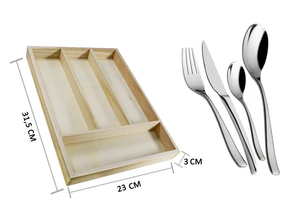 Portaposate in legno 4 posti da cassetto per posate forchette coltelli cucina decoupage B26 vet italy