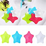 Cisixin 4Pcs/set Star Shape Household Sink Strainer Silicone Hair Catcher Shower Drain Cover (Blue,Green,White,Rose Red)
